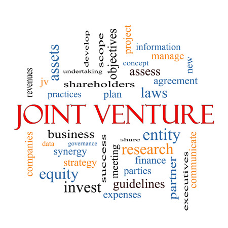 Joint Venture Word Cloud Concept with great terms such as business, partner, finance and more.