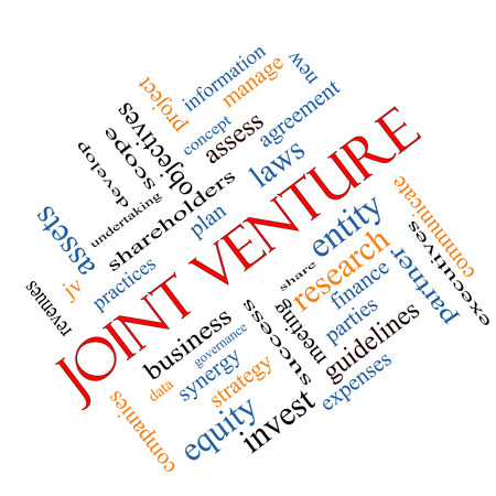 Joint Venture Word Cloud Concept angled with great terms such as business, partner, finance and more. Stok Fotoğraf