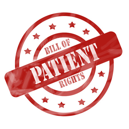bill of rights: A red ink weathered roughed up circles and stars stamp design with the words Patient Bill of Rights on it making a great concept.