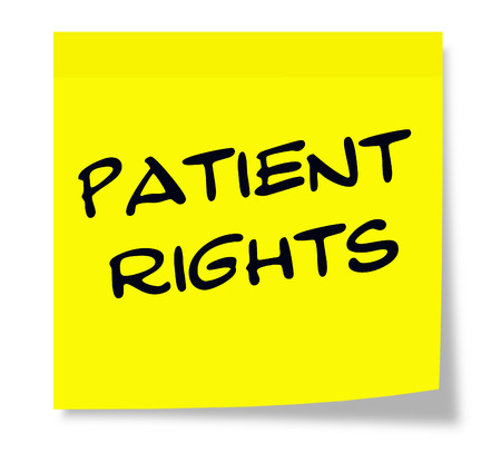 Patient Rights written on a paper yellow Sticky Note making a great concept.