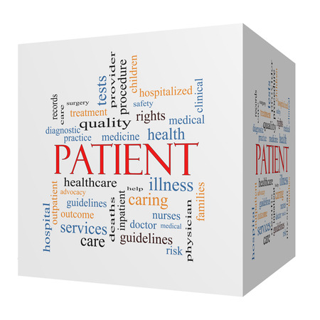 hospitalized: Patient 3D cube Word Cloud Concept with great terms such as medicine, rights, healthcare and more. Stock Photo