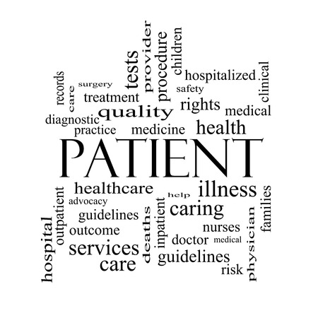 Patient Word Cloud Concept in black and white with great terms such as medicine, rights, healthcare and more.