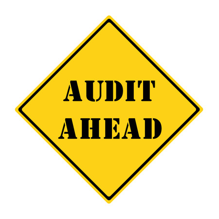 diamond shaped: A yellow and black diamond shaped road sign with the word AUDIT AHEAD making a great concept. Stock Photo