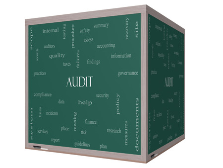 Audit Word Cloud Concept on a 3D cube Blackboard with great terms such as finance, findings, data and more. 版權商用圖片