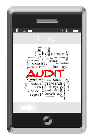 findings: Audit Word Cloud Concept on a Touchscreen Phone with great terms such as findings, data, accounting and more. Stock Photo