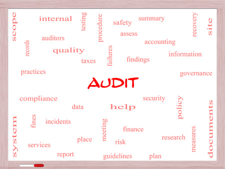 Audit Word Cloud Concept on a Whiteboard with great terms such as finance, findings, data and more.