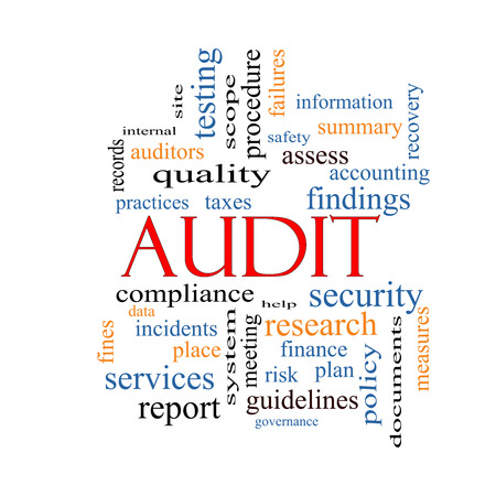 Audit Word Cloud Concept with great terms such as finance, findings, data and more. photo