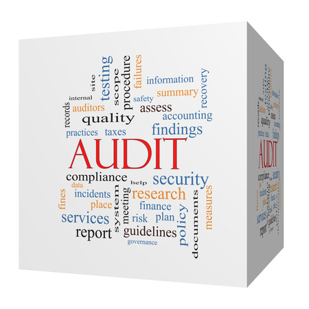 findings: Audit 3D cube Word Cloud Concept with great terms such as finance, findings, data and more.