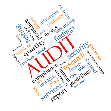 findings: Audit Word Cloud Concept angled with great terms such as finance, findings, data and more.
