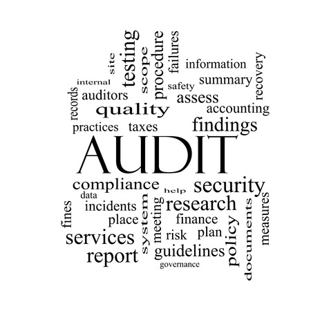 auditors: Audit Word Cloud Concept in black and white with great terms such as finance, findings, data and more. Stock Photo