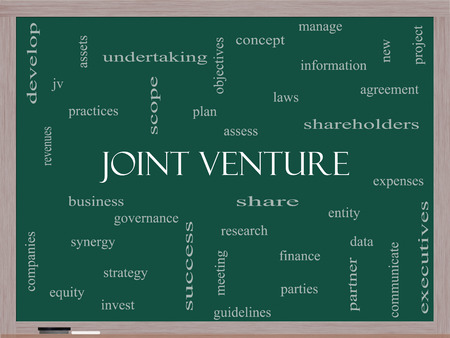 Joint Venture Word Cloud Concept on a Blackboard with great terms such as business, partner, finance and more.