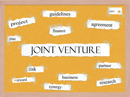 Joint Venture Corkboard Word Concept with great terms such as finance, partner, business and more.