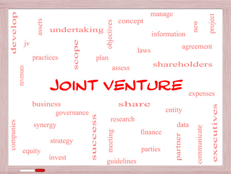 Joint Venture Word Cloud Concept on a Whiteboard with great terms such as business, partner, finance and more.