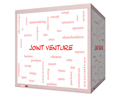 Joint Venture Word Cloud Concept on a 3D cube Whiteboard with great terms such as business, partner, finance and more.