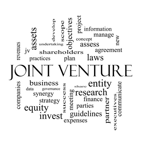Joint Venture Word Cloud Concept in black and white with great terms such as business, partner, finance and more. Stok Fotoğraf