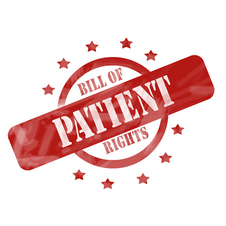bill of rights: A red ink weathered roughed up circle and stars stamp design with the words Patient Bill of Rights on it making a great concept. Stock Photo