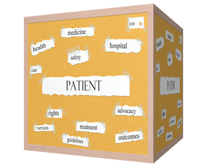 outcomes: Patient 3D cube Corkboard Word Concept with great terms such as rights, safety, health and more. Stock Photo
