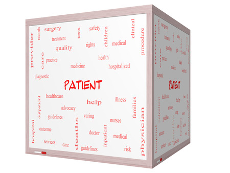 care providers: Patient Word Cloud Concept on a 3D cube Whiteboard with great terms such as medicine, rights, healthcare and more. Stock Photo