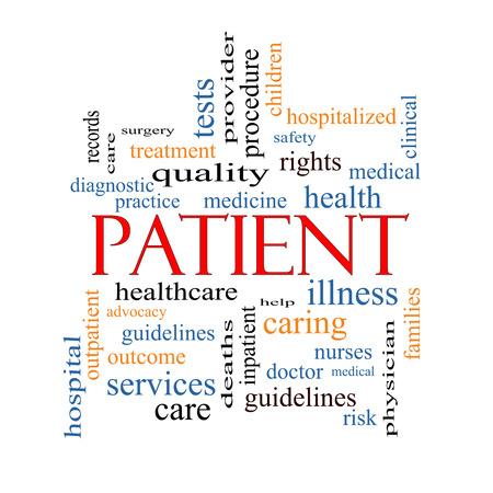 Patiënt Word Cloud Concept met grote termen zoals geneeskunde, rechten, gezondheidszorg en nog veel meer. Stockfoto - 28079361
