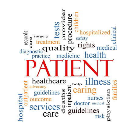providers: Patient Word Cloud Concept with great terms such as medicine, rights, healthcare and more. Stock Photo