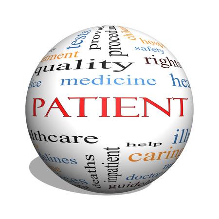Pacjent 3D kuli Concept Word Cloud z wielkich kategoriach takich jak medycyna, prawo, opieki zdrowotnej i innych.