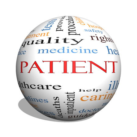 hospitalized: Patient 3D sphere Word Cloud Concept with great terms such as medicine, rights, healthcare and more. Stock Photo