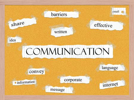 Communicatie Corkboard Word Concept met grote termen als aandeel, barrières, effectief en meer.