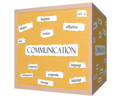 Communication 3D cube Corkboard Word Concept with great terms such as share, barriers, effective and more.