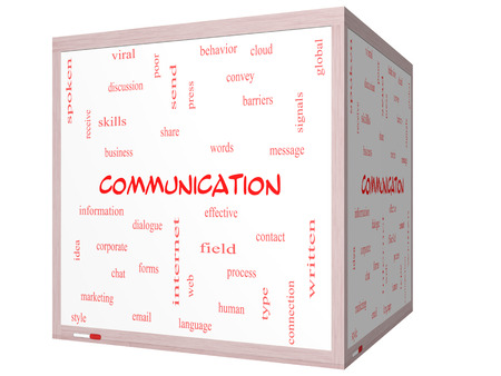 Communication Word Cloud Concept on a 3D cube Whiteboard with great terms such as corporate, message, language and more. Reklamní fotografie