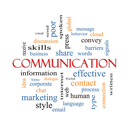 comunicación escrita: Comunicación Palabra Nube Concepto con los términos como corporativo, mensaje, el lenguaje y más. Foto de archivo