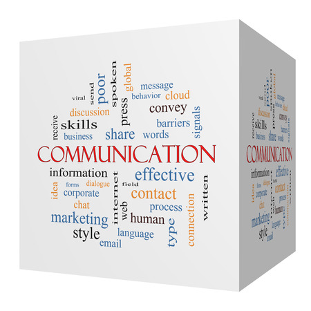 spoken: Communication 3D cube Word Cloud Concept with great terms such as corporate, message, language and more.
