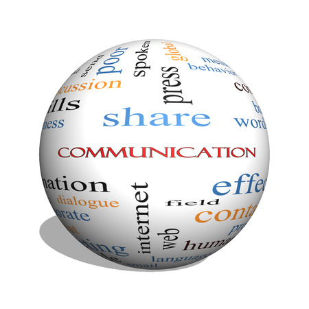Communication 3D sphere Word Cloud Concept with great terms such as corporate, message, language and more.