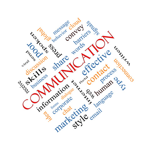 Communication Word Cloud Concept angled with great terms such as corporate, message, language and more.