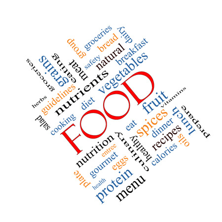Food Word Cloud Concept angled with great terms such as fruit, vegetables, recipes and more.