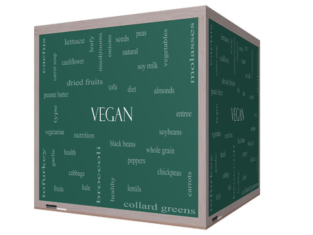 types of cactus: Vegan Word Cloud Concept on a 3D cube Blackboard with great terms such as tofu, vegetarian, soybeans and more. Stock Photo