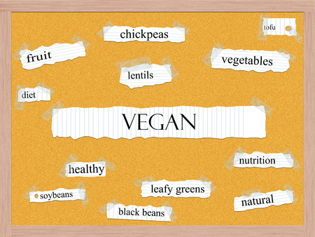 Vegan Corkboard Word Concept with great terms such as chickpeas, lentils, diet and more.