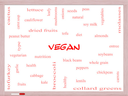 types of cactus: Vegan Word Cloud Concept on a Whiteboard with great terms such as tofu, vegetarian, soybeans and more. Stock Photo