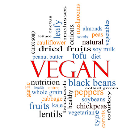 Vegan Word Cloud Concept with great terms such as tofu, vegetarian, soybeans and more. photo
