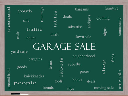 Garage Sale Word Cloud Concept on a Blackboard with great terms such as deals, bargains, prices and more. photo