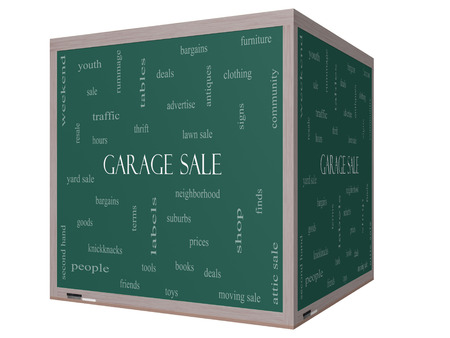Garage Sale Word Cloud Concept on a 3D cube Blackboard with great terms such as deals, bargains, prices and more. photo
