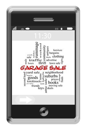 Garage Sale Word Cloud Concept on a Touchscreen Phone with great terms such as bargains, deals, finds and more. photo