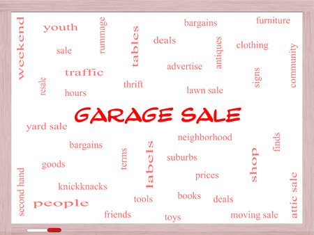 Garage Sale Word Cloud Concept on a Whiteboard with great terms such as deals, bargains, prices and more. photo