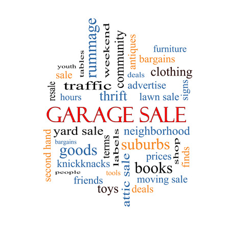 Garage Sale Word Cloud Concept with great terms such as deals, bargains, prices and more. photo