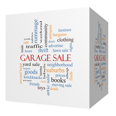 Garage Sale 3D cube Word Cloud Concept with great terms such as deals, bargains, prices and more. Stock Photo