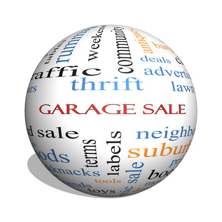 Garage Sale 3D sphere Word Cloud Concept with great terms such as deals, bargains, prices and more. photo