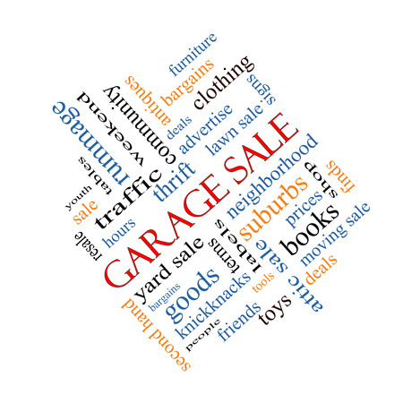 Garage Sale Word Cloud Concept angled with great terms such as deals, bargains, prices and more. photo