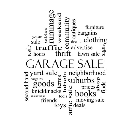Garage Sale Word Cloud Concept in black and white with great terms such as deals, bargains, prices and more. photo