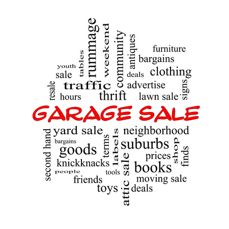 Garage Sale Word Cloud Concept in red caps with great terms such as deals, bargains, prices and more.