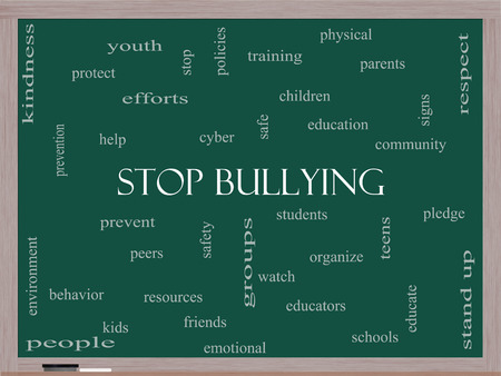 Stop Bullying Word Cloud Concept on a Blackboard with great terms such as students, cyber, safety and more.