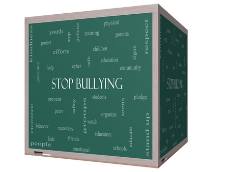studens: Stop Bullying Word Cloud Concept on a 3D cube Blackboard with great terms such as students, cyber, safety and more.